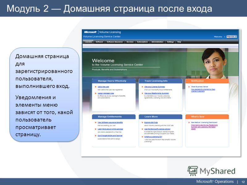 12 Модуль 2 Домашняя страница после входа Домашняя страница для зарегистрированного пользователя, выполнившего вход. Уведомления и элементы меню зависят от того, какой пользователь просматривает страницу. Домашняя страница для зарегистрированного пол