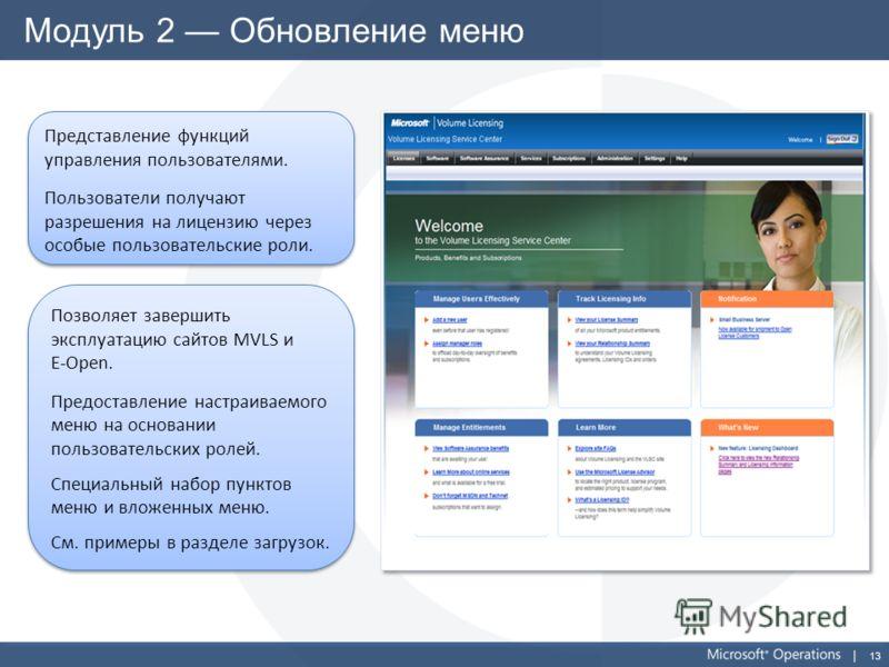 13 Модуль 2 Обновление меню Представление функций управления пользователями. Пользователи получают разрешения на лицензию через особые пользовательские роли. Представление функций управления пользователями. Пользователи получают разрешения на лицензи