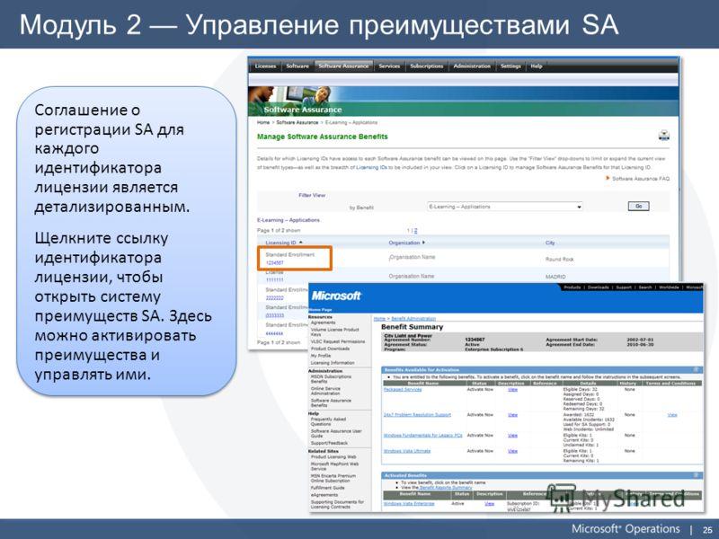 25 Модуль 2 Управление преимуществами SA Соглашение о регистрации SA для каждого идентификатора лицензии является детализированным. Щелкните ссылку идентификатора лицензии, чтобы открыть систему преимуществ SA. Здесь можно активировать преимущества и