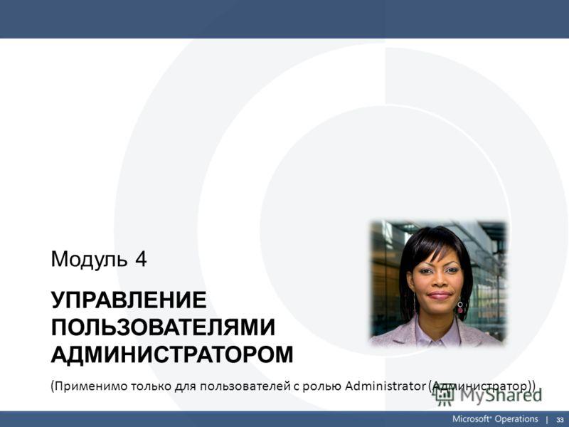 33 УПРАВЛЕНИЕ ПОЛЬЗОВАТЕЛЯМИ АДМИНИСТРАТОРОМ Модуль 4 (Применимо только для пользователей с ролью Administrator (Администратор))