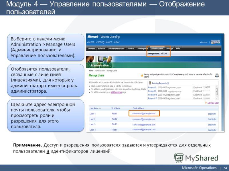34 Модуль 4 Управление пользователями Отображение пользователей Выберите в панели меню Administration > Manage Users (Администрирование > Управление пользователями). Отобразятся пользователи, связанные с лицензией (лицензиями), для которых у админист