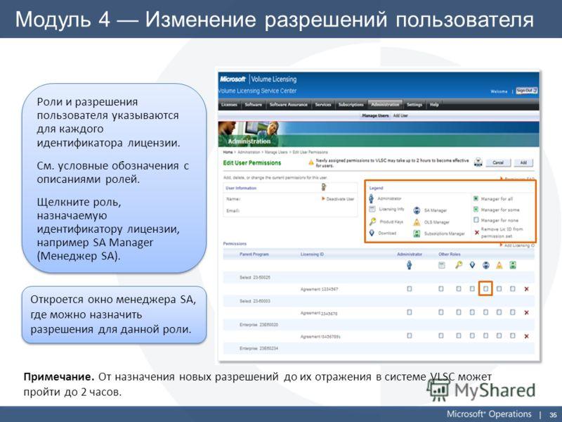 35 Модуль 4 Изменение разрешений пользователя Роли и разрешения пользователя указываются для каждого идентификатора лицензии. См. условные обозначения с описаниями ролей. Щелкните роль, назначаемую идентификатору лицензии, например SA Manager (Менедж