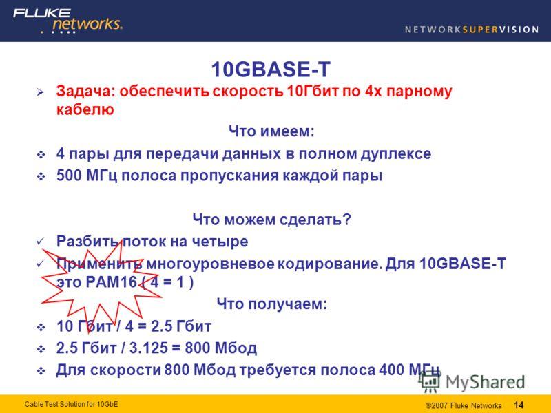 14 ®2007 Fluke Networks 14 Cable Test Solution for 10GbE 10GBASE-T Задача: обеспечить скорость 10Гбит по 4х парному кабелю Что имеем: 4 пары для передачи данных в полном дуплексе 500 МГц полоса пропускания каждой пары Что можем сделать? Разбить поток
