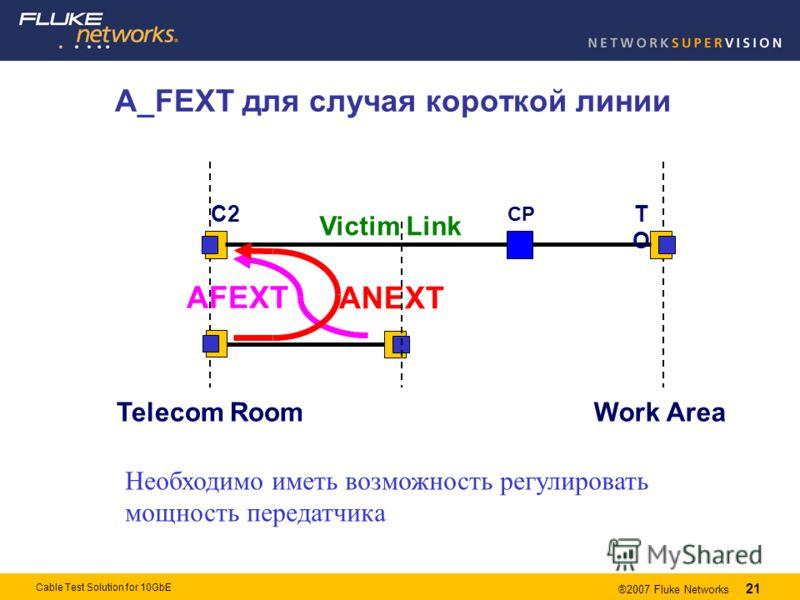 21 ®2007 Fluke Networks 21 Cable Test Solution for 10GbE A_FEXT для случая короткой линии Необходимо иметь возможность регулировать мощность передатчика Telecom RoomWork Area CP TOTO C2 ANEXT AFEXT Victim Link