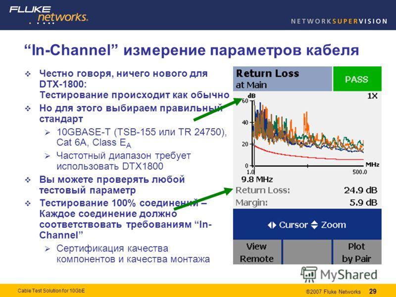 29 ®2007 Fluke Networks 29 Cable Test Solution for 10GbE In-Channel измерение параметров кабеля Честно говоря, ничего нового для DTX-1800: Тестирование происходит как обычно Но для этого выбираем правильный стандарт 10GBASE-T (TSB-155 или TR 24750),