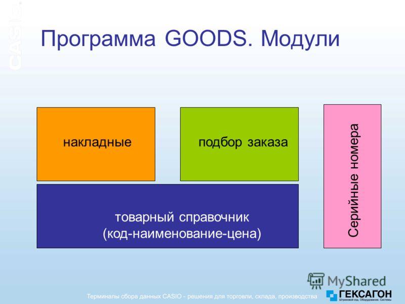 Программа GOODS. Модули товарный справочник (код-наименование-цена) накладныеподбор заказа Серийные номера