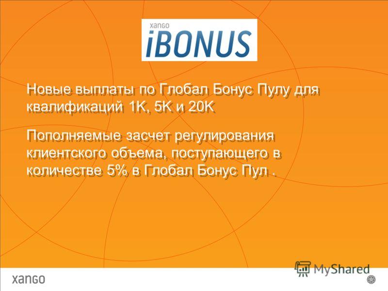 Новые выплаты по Глобал Бонус Пулу для квалификаций 1K, 5K и 20K Пополняемые засчет регулирования клиентского объема, поступающего в количестве 5% в Глобал Бонус Пул. Новые выплаты по Глобал Бонус Пулу для квалификаций 1K, 5K и 20K Пополняемые засчет