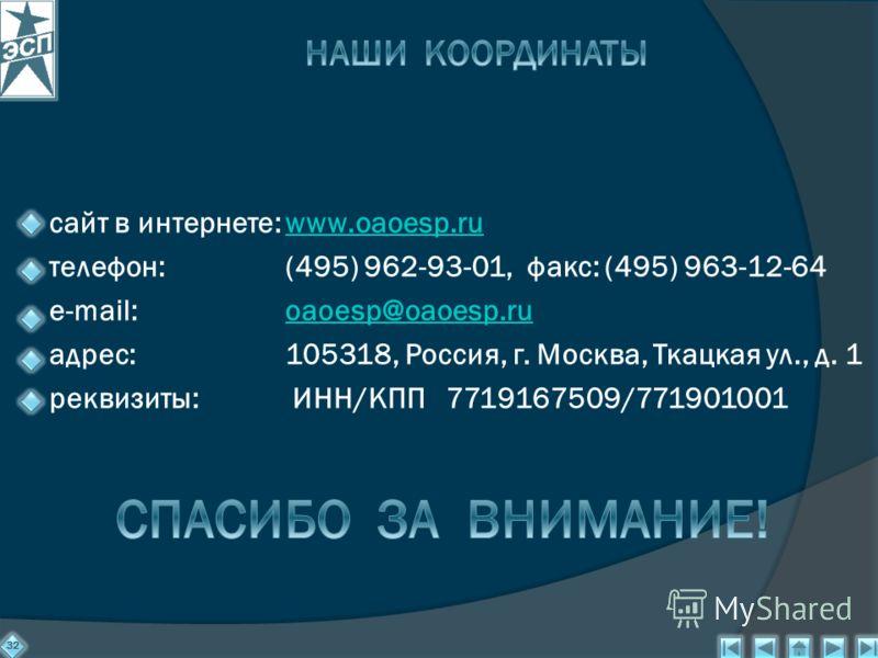 сайт в интернете:www.oaoesp.ruwww.oaoesp.ru телефон: (495) 962-93-01, факс: (495) 963-12-64 e-mail:oaoesp@oaoesp.ruoaoesp@oaoesp.ru адрес:105318, Россия, г. Москва, Ткацкая ул., д. 1 реквизиты: ИНН/КПП 7719167509/771901001 32