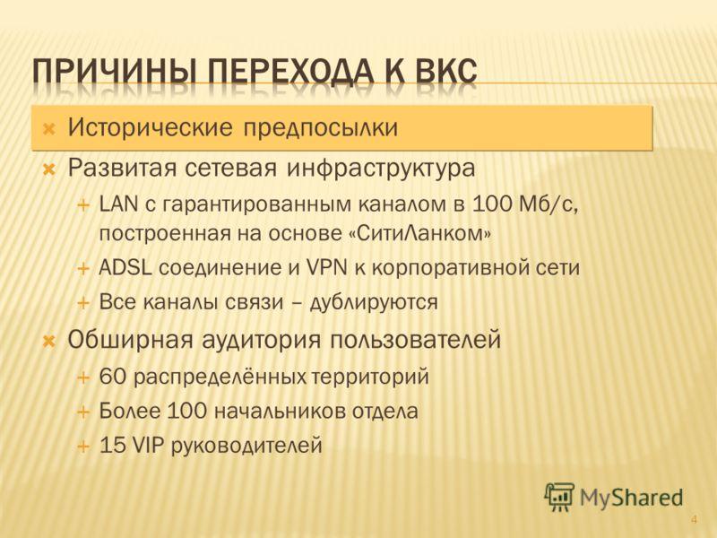 Исторические предпосылки Развитая сетевая инфраструктура LAN с гарантированным каналом в 100 Мб/с, построенная на основе «СитиЛанком» ADSL соединение и VPN к корпоративной сети Все каналы связи – дублируются Обширная аудитория пользователей 60 распре