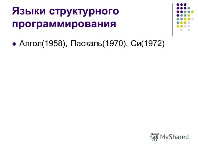 Языки структурного программирования Алгол(1958), Паскаль(1970), Си(1972)