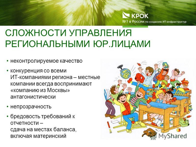 СЛОЖНОСТИ УПРАВЛЕНИЯ РЕГИОНАЛЬНЫМИ ЮР.ЛИЦАМИ неконтролируемое качество конкуренция со всеми ИТ-компаниями региона – местные компании всегда воспринимают «компанию из Москвы» антагонистически непрозрачность бредовость требований к отчетности – сдача н