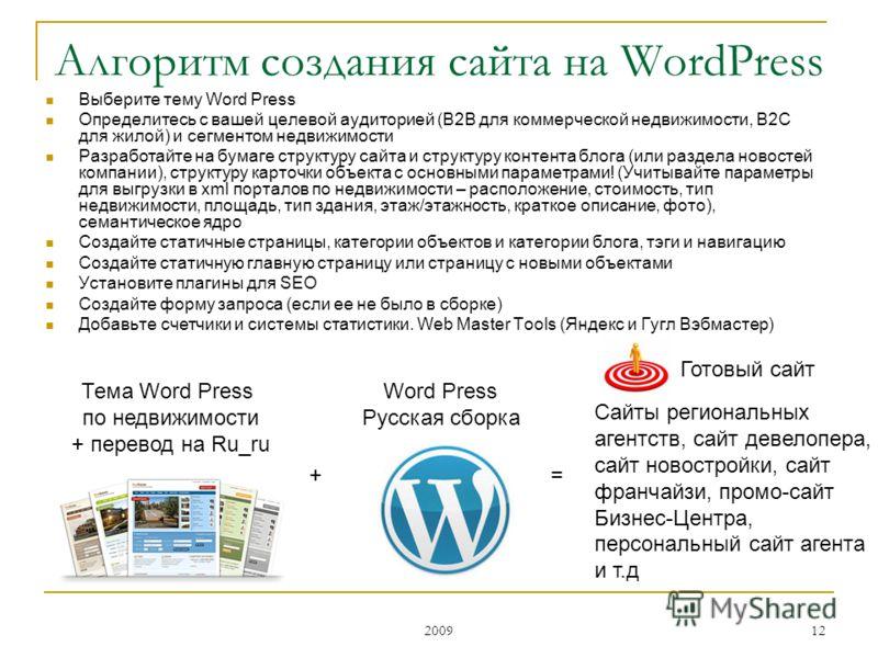 2009 12 Выберите тему Word Press Определитесь с вашей целевой аудиторией (B2B для коммерческой недвижимости, B2C для жилой) и сегментом недвижимости Разработайте на бумаге структуру сайта и структуру контента блога (или раздела новостей компании), ст