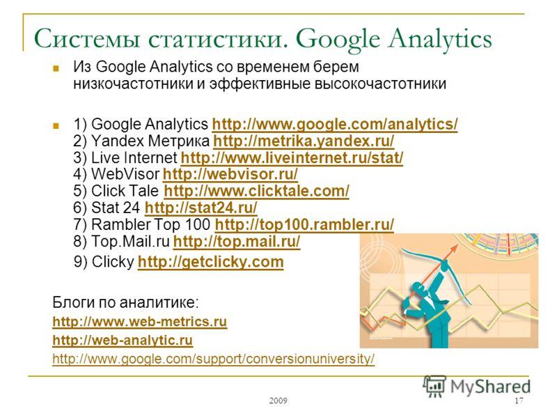 2009 17 Из Google Analytics со временем берем низкочастотники и эффективные высокочастотники 1) Google Analytics http://www.google.com/analytics/ 2) Yandex Метрика http://metrika.yandex.ru/ 3) Live Internet http://www.liveinternet.ru/stat/ 4) WebViso
