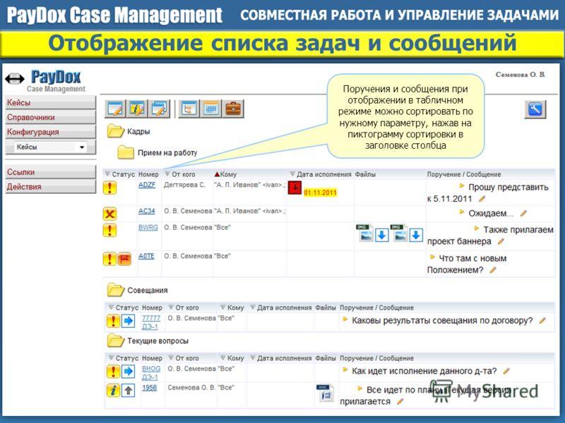 Отображение списка задач и сообщений Поручения и сообщения при отображении в табличном режиме можно сортировать по нужному параметру, нажав на пиктограмму сортировки в заголовке столбца