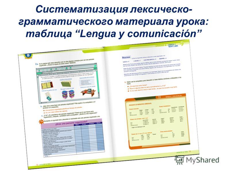 Систематизация лексическо- грамматического материала урока: таблица Lengua y comunicación