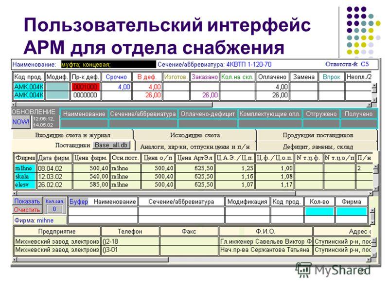 23 Пользовательский интерфейс АРМ для отдела снабжения
