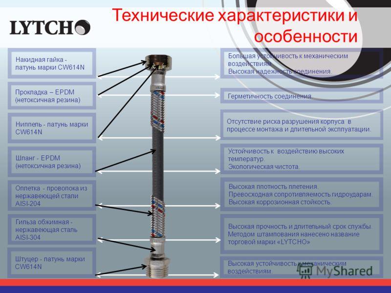 Технические характеристики и особенности Шланг - EPDM (нетоксичная резина) Оплетка - проволока из нержавеющей стали AISI-204 Гильза обжимная - нержавеющая сталь AISI-304 Прокладка – EPDM (нетоксичная резина) Ниппель - латунь марки CW614N Накидная гай