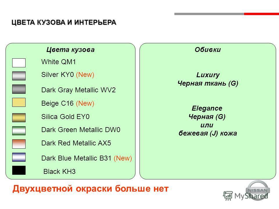 ЦВЕТА КУЗОВА И ИНТЕРЬЕРА Цвета кузова White QM1 Silver KY0 (New) Dark Gray Metallic WV2 Beige C16 (New) Dark Blue Metallic B31 (New) Black KH3 Silica Gold EY0 Dark Green Metallic DW0 Dark Red Metallic AX5 Обивки Luxury Черная ткань (G) Elegance Черна