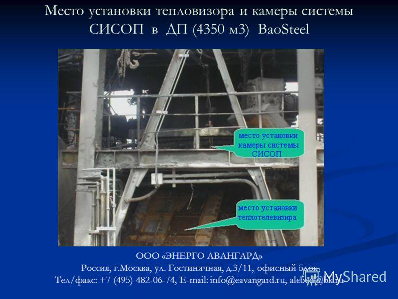 Место установки тепловизора и камеры системы СИСОП в ДП (4350 м3) BaoSteel