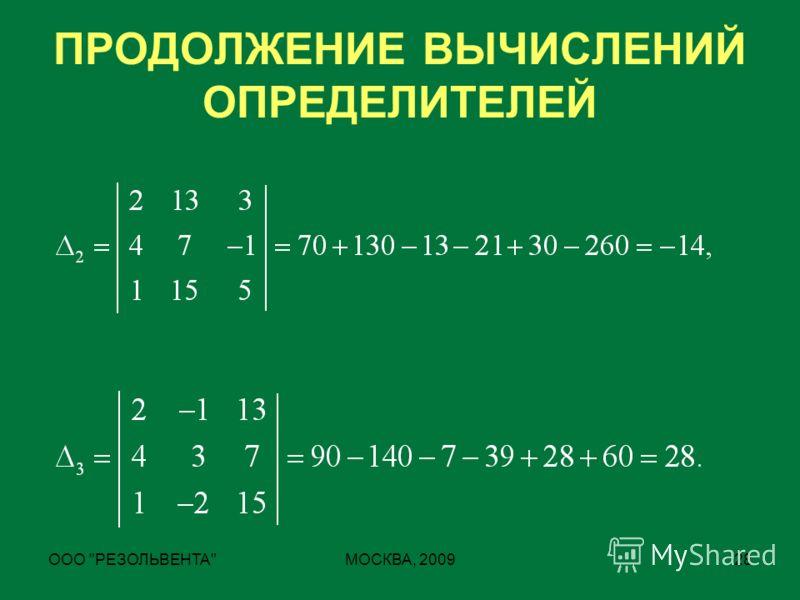 ООО РЕЗОЛЬВЕНТАМОСКВА, 200928 ПРОДОЛЖЕНИЕ ВЫЧИСЛЕНИЙ ОПРЕДЕЛИТЕЛЕЙ