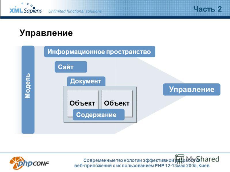 Современные технологии эффективной разработки веб-приложений с использованием PHP 12-13мая 2005, Киев Управление Часть 2 Сайт Документ Информационное пространство Управление Модель Объект Содержание