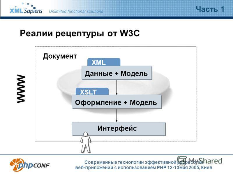 Современные технологии эффективной разработки веб-приложений с использованием PHP 12-13мая 2005, Киев Реалии рецептуры от W3C Часть 1 Интерфейс Документ WWW XML Данные + Модель XSLT Оформление + Модель