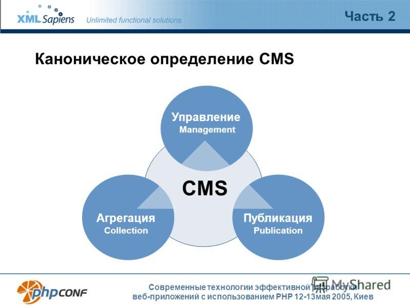 Современные технологии эффективной разработки веб-приложений с использованием PHP 12-13мая 2005, Киев Каноническое определение CMS Часть 2 XML Публикация Publication Управление Management Агрегация Collection CMS