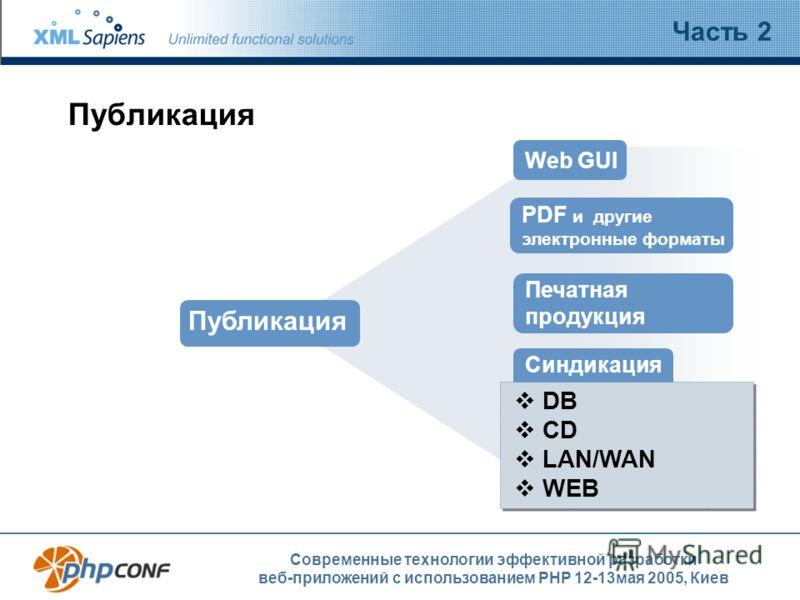 Современные технологии эффективной разработки веб-приложений с использованием PHP 12-13мая 2005, Киев Публикация Часть 2 Web GUI Синдикация DB CD LAN/WAN WEB Печатная продукция Публикация PDF и другие электронные форматы