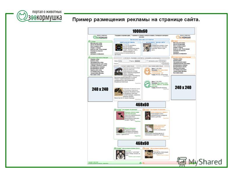 Пример размещения рекламы на странице сайта.