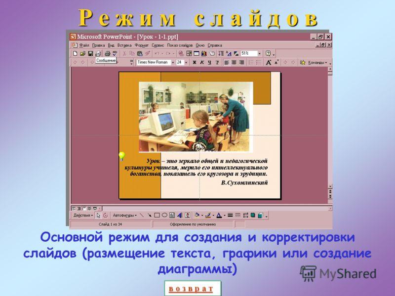 О б ы ч н ы й р е ж и м Пользователь имеет возможность работать как над отдельными слайдами и заметками к ним, так и над структурой презентации Область структуры Область слайда Область заметок в о з в р а т в о з в р а т