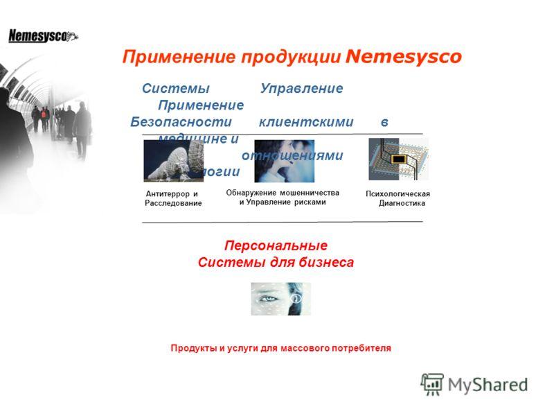 Системы Управление Применение Безопасности клиентскими в медицине и отношениями психологии Антитеррор и Расследование Обнаружение мошенничества и Управление рисками Психологическая Диагностика Продукты и услуги для массового потребителя Персональные