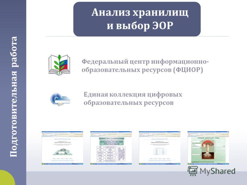 Подготовительная работа Анализ хранилищ и выбор ЭОР Федеральный центр информационно - образовательных ресурсов ( ФЦИОР ) Единая коллекция цифровых образовательных ресурсов