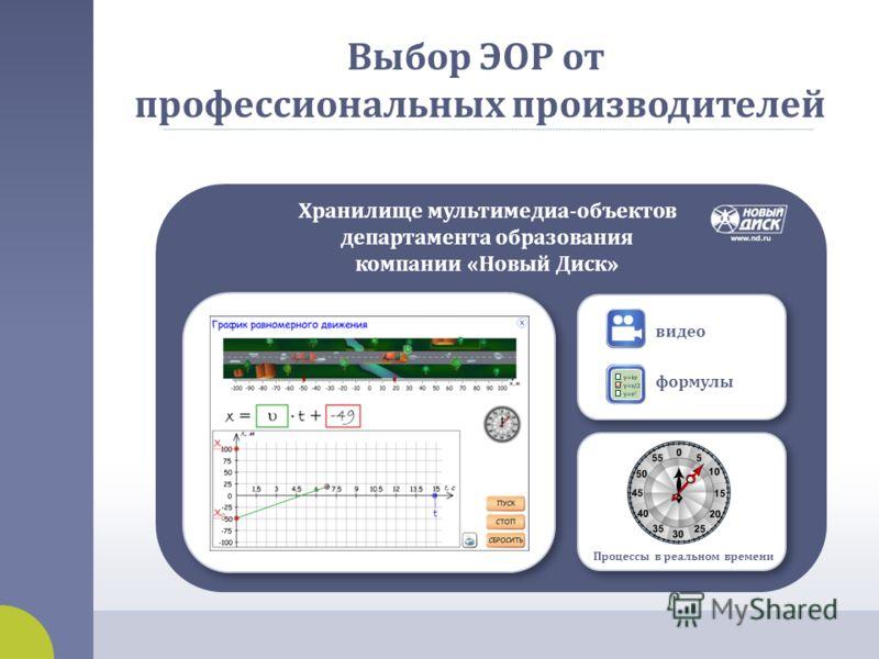 Выбор ЭОР от профессиональных производителей Хранилище мультимедиа - объектов департамента образования компании « Новый Диск » видео формулы Процессы в реальном времени