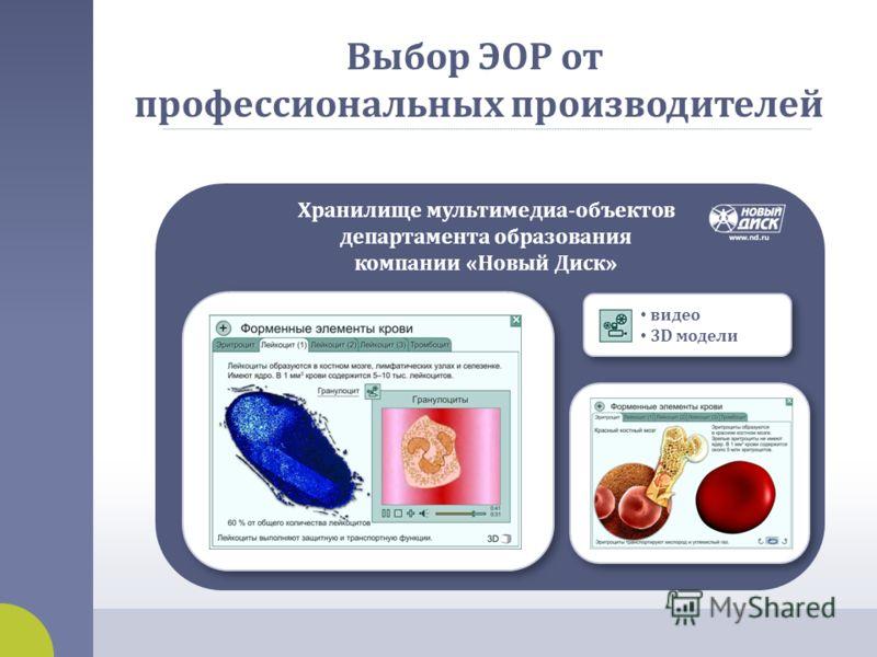 Хранилище мультимедиа - объектов департамента образования компании « Новый Диск » видео 3D модели Выбор ЭОР от профессиональных производителей