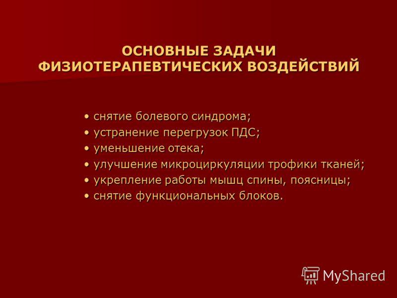 ОСНОВНЫЕ ЗАДАЧИ ФИЗИОТЕРАПЕВТИЧЕСКИХ ВОЗДЕЙСТВИЙ снятие болевого синдрома; снятие болевого синдрома; устранение перегрузок ПДС; устранение перегрузок ПДС; уменьшение отека; уменьшение отека; улучшение микроциркуляции трофики тканей; улучшение микроци