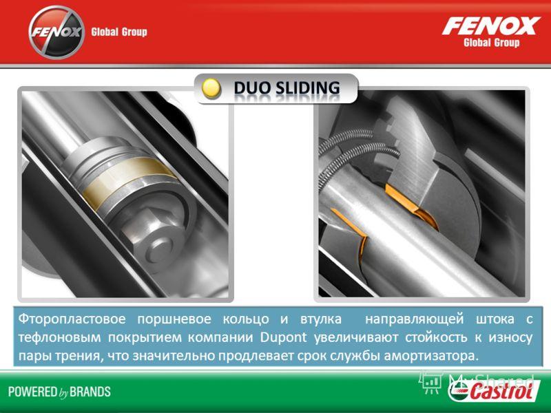 Фторопластовое поршневое кольцо и втулка направляющей штока с тефлоновым покрытием компании Dupont увеличивают стойкость к износу пары трения, что значительно продлевает срок службы амортизатора.