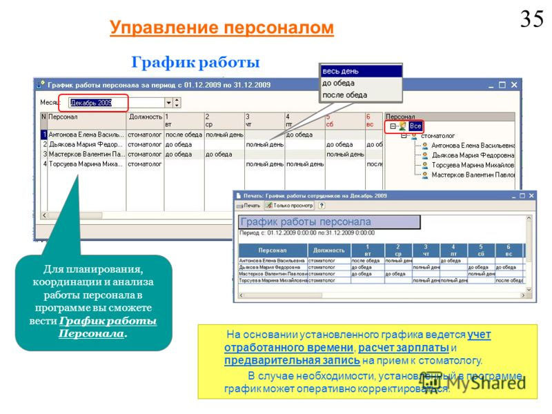 Для планирования, координации и анализа работы персонала в программе вы сможете вести График работы Персонала. Управление персоналом График работы На основании установленного графика ведется учет отработанного времени, расчет зарплаты и предварительн