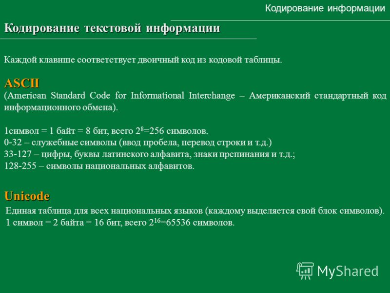Кодирование информации Кодирование текстовой информации (American Standard Code for Informational Interchange – Американский стандартный код информационного обмена). 1символ = 1 байт = 8 бит, всего 2 8 =256 символов. 0-32 – служебные символы (ввод пр