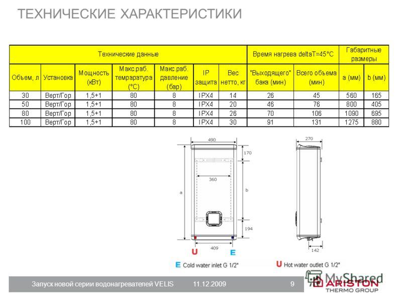 Запуск новой серии водонагревателей VELIS11.12.2009 9 ТЕХНИЧЕСКИЕ ХАРАКТЕРИСТИКИ