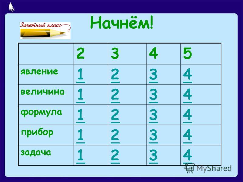 Начнём! 2345 явление 1234 величина 1234 формула 1234 прибор 1234 задача 1234