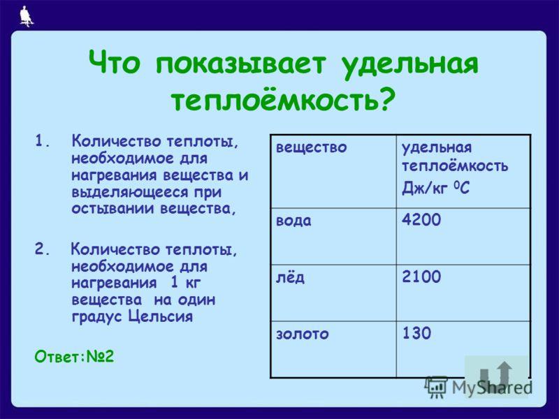 Что показывает удельная теплоёмкость? 1.Количество теплоты, необходимое для нагревания вещества и выделяющееся при остывании вещества, 2. Количество теплоты, необходимое для нагревания 1 кг вещества на один градус Цельсия Ответ:2 веществоудельная теп