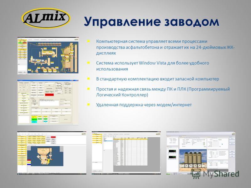 Управление заводом Компьютерная система управляет всеми процессами производства асфальтобетона и отражает их на 24-дюймовых ЖК- дисплеях Система использует Window Vista для более удобного использования В стандартную комплектацию входит запасной компь