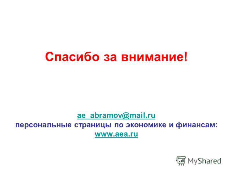 Спасибо за внимание! ae_abramov@mail.ru персональные страницы по экономике и финансам: www.aea.ru ae_abramov@mail.ru www.aea.ru