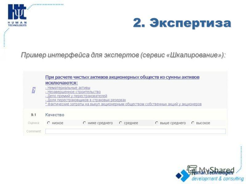 2. Экспертиза Пример интерфейса для экспертов (сервис «Шкалирование»):