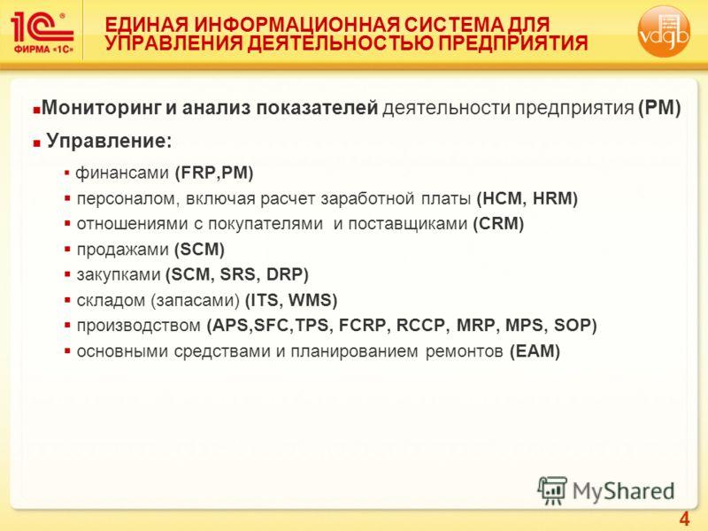 4 Мониторинг и анализ показателей деятельности предприятия (PM) Управление: финансами (FRP,PM) персоналом, включая расчет заработной платы (HCM, HRM) отношениями с покупателями и поставщиками (CRM) продажами (SCM) закупками (SCM, SRS, DRP) складом (з