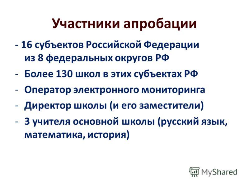 Участники апробации - 16 субъектов Российской Федерации из 8 федеральных округов РФ -Более 130 школ в этих субъектах РФ -Оператор электронного мониторинга -Директор школы (и его заместители) -3 учителя основной школы (русский язык, математика, истори