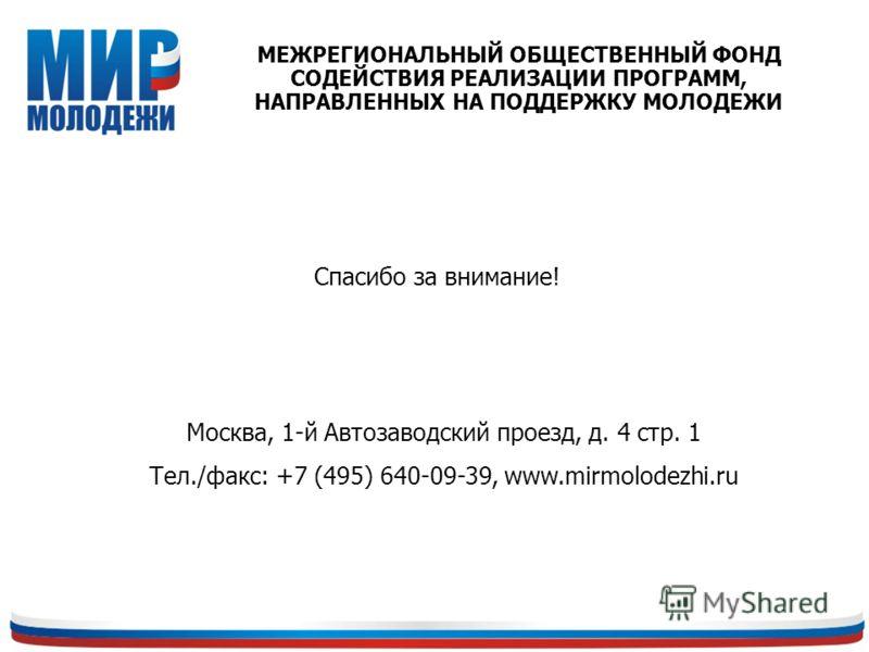 Спасибо за внимание! Москва, 1-й Автозаводский проезд, д. 4 стр. 1 Тел./факс: +7 (495) 640-09-39, www.mirmolodezhi.ru МЕЖРЕГИОНАЛЬНЫЙ ОБЩЕСТВЕННЫЙ ФОНД СОДЕЙСТВИЯ РЕАЛИЗАЦИИ ПРОГРАММ, НАПРАВЛЕННЫХ НА ПОДДЕРЖКУ МОЛОДЕЖИ