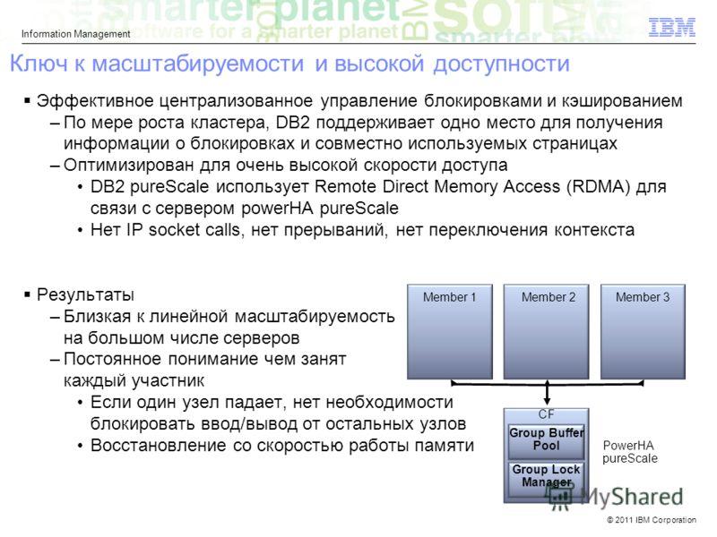 © 2011 IBM Corporation Information Management Ключ к масштабируемости и высокой доступности Эффективное централизованное управление блокировками и кэшированием –По мере роста кластера, DB2 поддерживает одно место для получения информации о блокировка