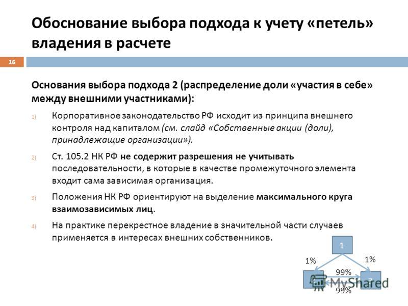 Обоснование выбора подхода к учету « петель » владения в расчете Основания выбора подхода 2 ( распределение доли « участия в себе » между внешними участниками ): 1) Корпоративное законодательство РФ исходит из принципа внешнего контроля над капиталом