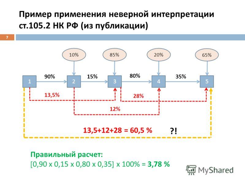 Пример применения неверной интерпретации ст.105.2 НК РФ ( из публикации ) 7 12345 90%15% 80% 35% 13,5% 12% 28% 13,5+12+28 = 60,5 % ?! 10%85%20% 65% Правильный расчет: [ 0,90 х 0,15 х 0,80 х 0,35 ] х 100% = 3,78 %